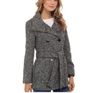 Calvin Klein Black Tweed Belted Pea Coat Sz M